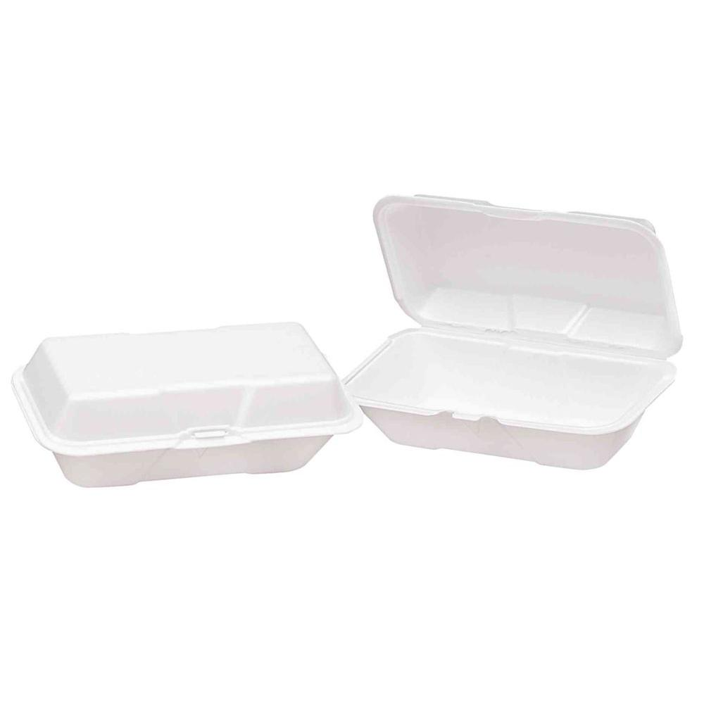 Genpak Foam Hinged Hoagie Containers, 9-1/2 x 5-1/4 x 3-1/2, White, 200 Per Case