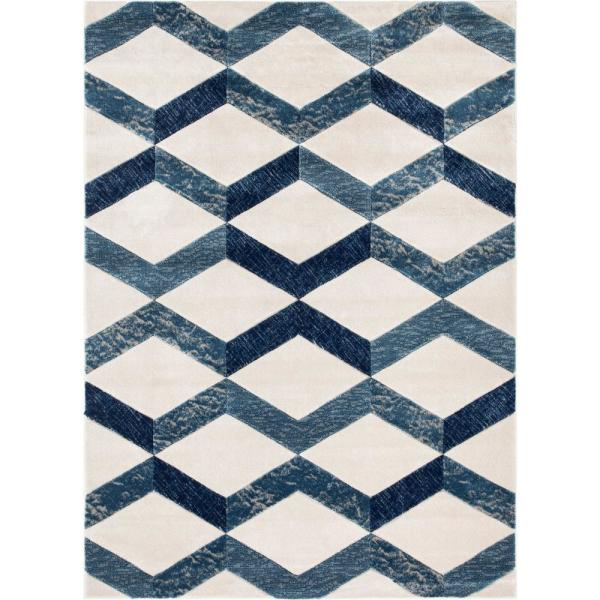 Well Woven Good Vibes Millie Blue Modern Zigzag Stripes 5 Ft 3 In X 7 Ft 3 In Area Rug Gv 14 5 The Home Depot