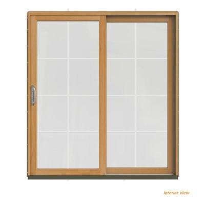 72 in. x 80 in. W-2500 Contemporary Silver Clad Wood Right-Hand 8 Lite Sliding Patio Door w/Stained Interior