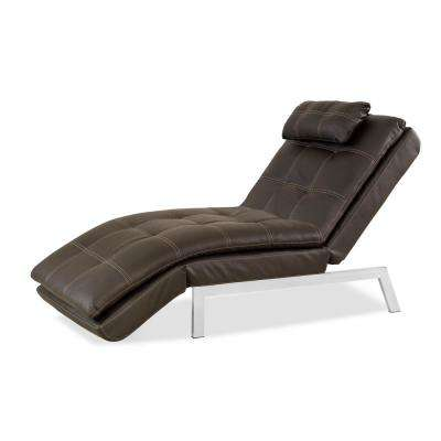 Venetia Bonded Leather Convertibe Chaise Lounge with Tan Baseball Stitching  in Java