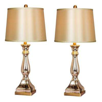 28 in. Vintage Mercury Glass and Antique Brass Candlestick Table Lamps