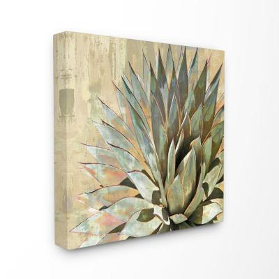 """30 in. x 30 in. """"Green Painted Botanical Succulent Agave Leaves""""by Artist Lindsay Benson Canvas Wall Art"""