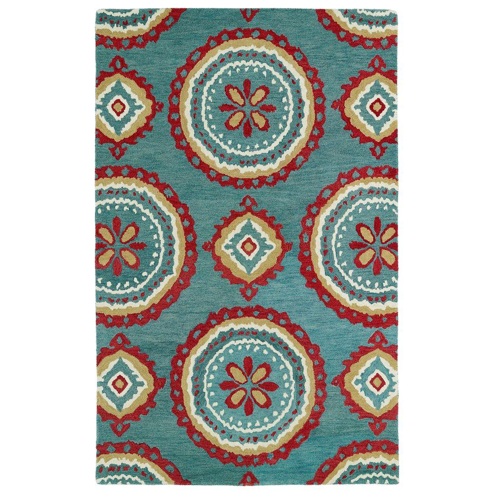 Kaleen Global Inspiration Teal 3 ft. 6 in. x 5 ft. 6 in. Area Rug
