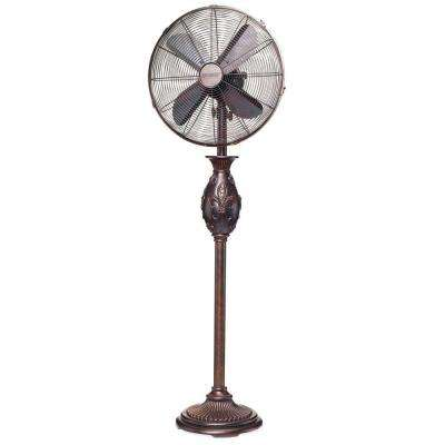 16 in. Copper Fleur De Lis Floor Fan