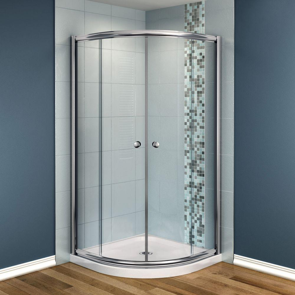MAAX Talen 40 in. x 40 in. x 73 in. Neo-Round Shower Kit in Chrome with Clear Glass, Base in White