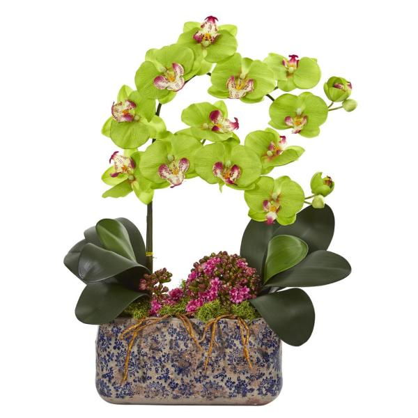 Nearly Natural Indoor Phalaenopsis Orchid Artificial Arrangement in Ceramic Vase