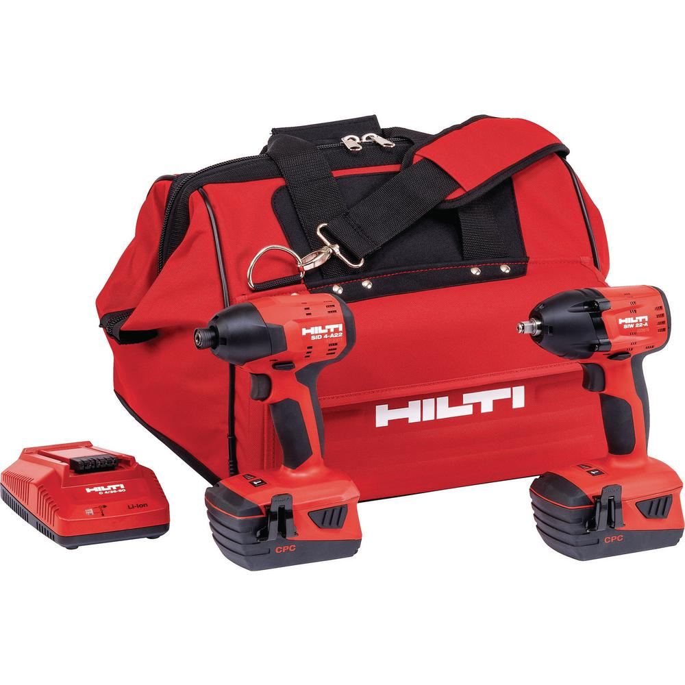22-Volt Lithium-Ion Cordless Impact Drill Driver/Impact Wrench Combo Kit (2-Tool)