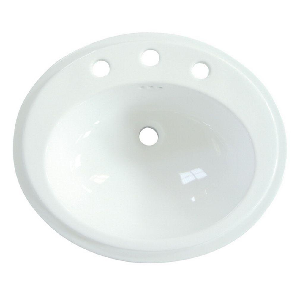 Kingston brass self rimming bathroom sink in white for Bathroom design kingston