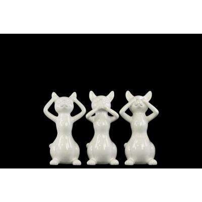 7 in. H Cat Decorative Figurine in White Gloss Finish