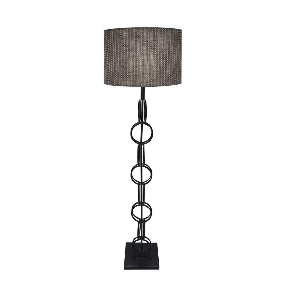 61 in. Bronze Metal Ring Floor Lamp with Natural Fibers Hardback Shade