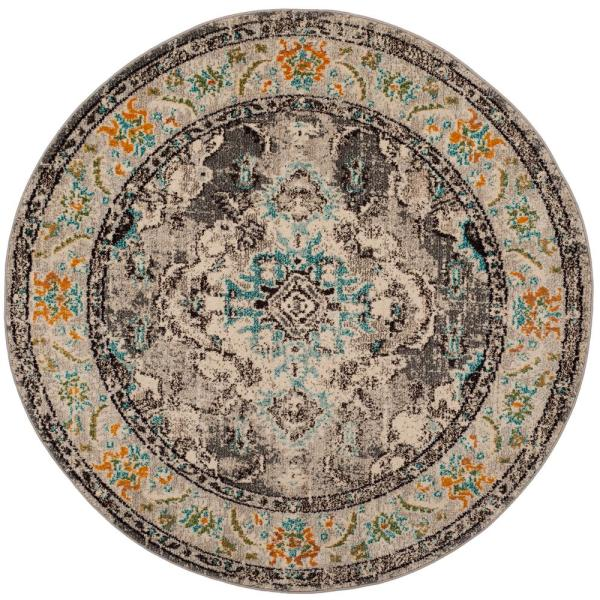 Monaco Gray/Light Blue 7 ft. x 7 ft. Round Area Rug
