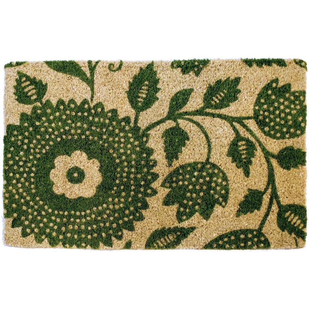 Penelope Floral 22 in. x 35 in. Hand Woven Coconut Fiber Door Mat