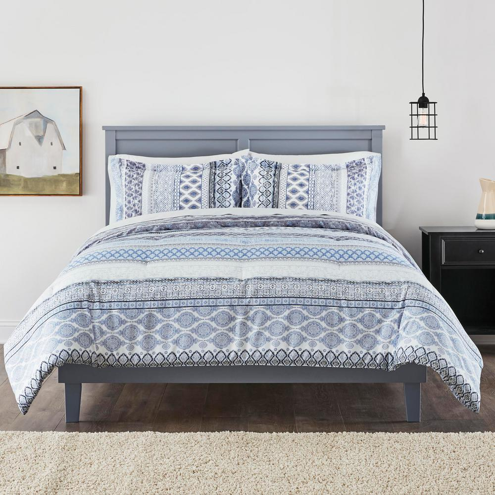 Stylewell Nadira 3-Piece Stone Gray Stripe Full/Queen Comforter Set