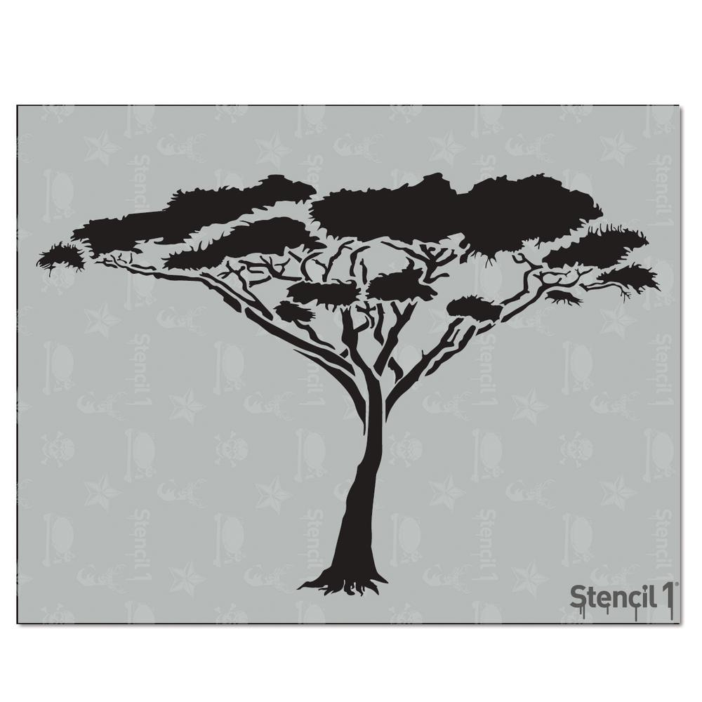 Dashing image with printable tree stencils