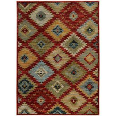 Laredo Red and Multi 8 ft. x 11 ft. Area Rug