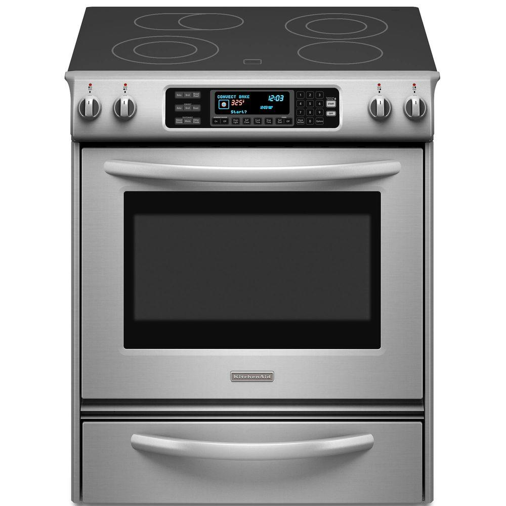 KitchenAid Architect Series II 4.1 cu. ft. Slide-In Electric Range with Self-Cleaning Convection Oven in Stainless Steel