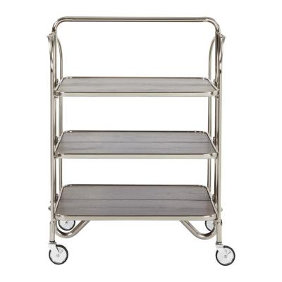 Sarita Brushed Nickel Folding Bar Cart with 3-Tiers K/D with Casters