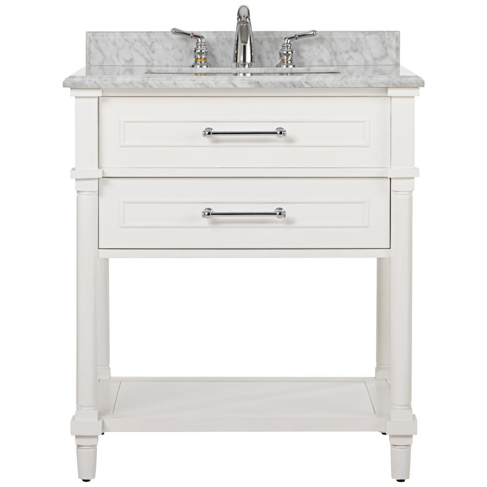 Home Decorators Collection Aberdeen 30 in. W Open Shelf Vanity in White with Carrara Marble Top with White Sinks