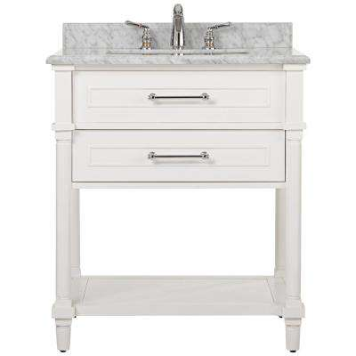 Aberdeen 30 in. W Open Shelf Vanity in White with Carrara Marble Top with White Sinks