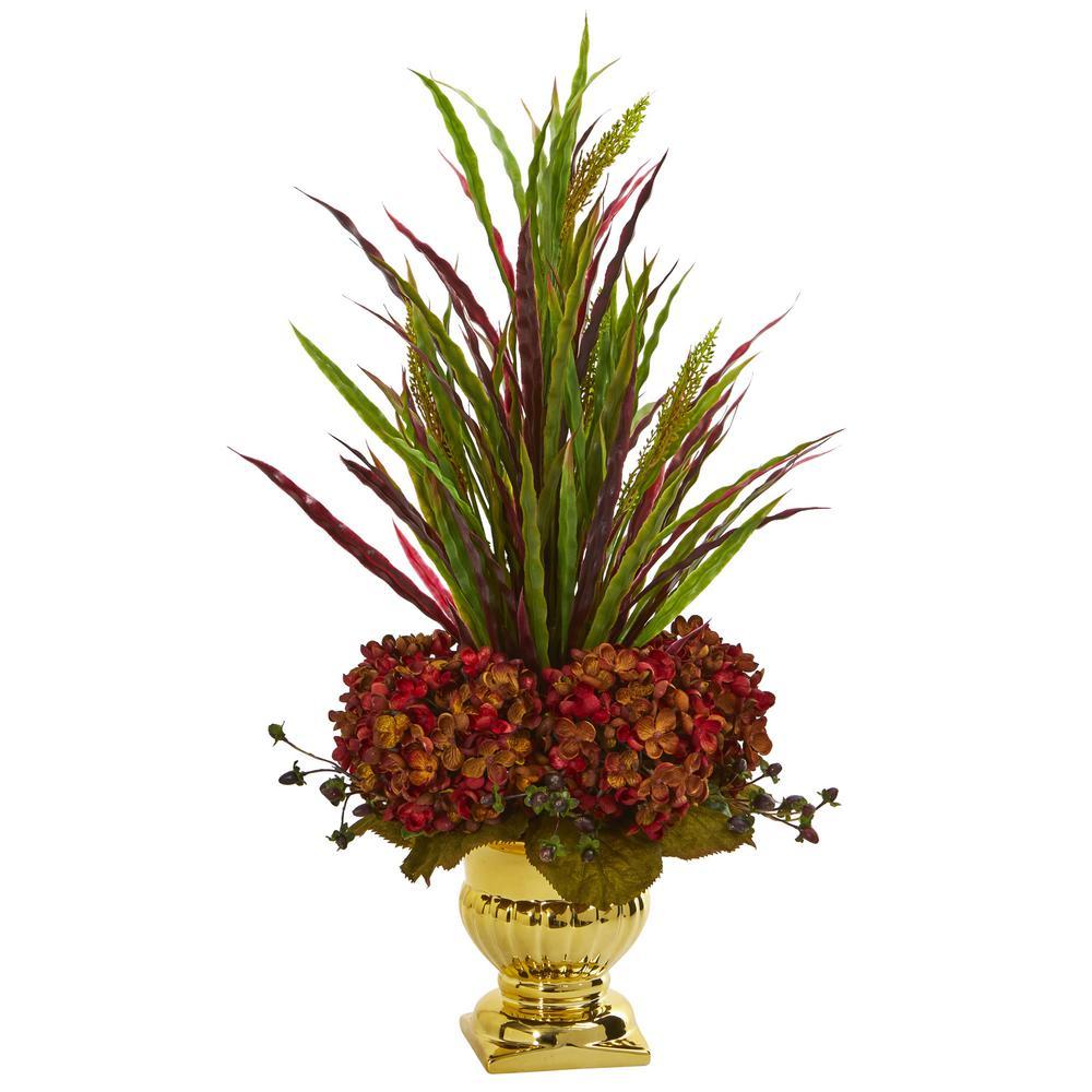 Indoor Grass and Hydrangea Artificial Arrangement in Gold Urn
