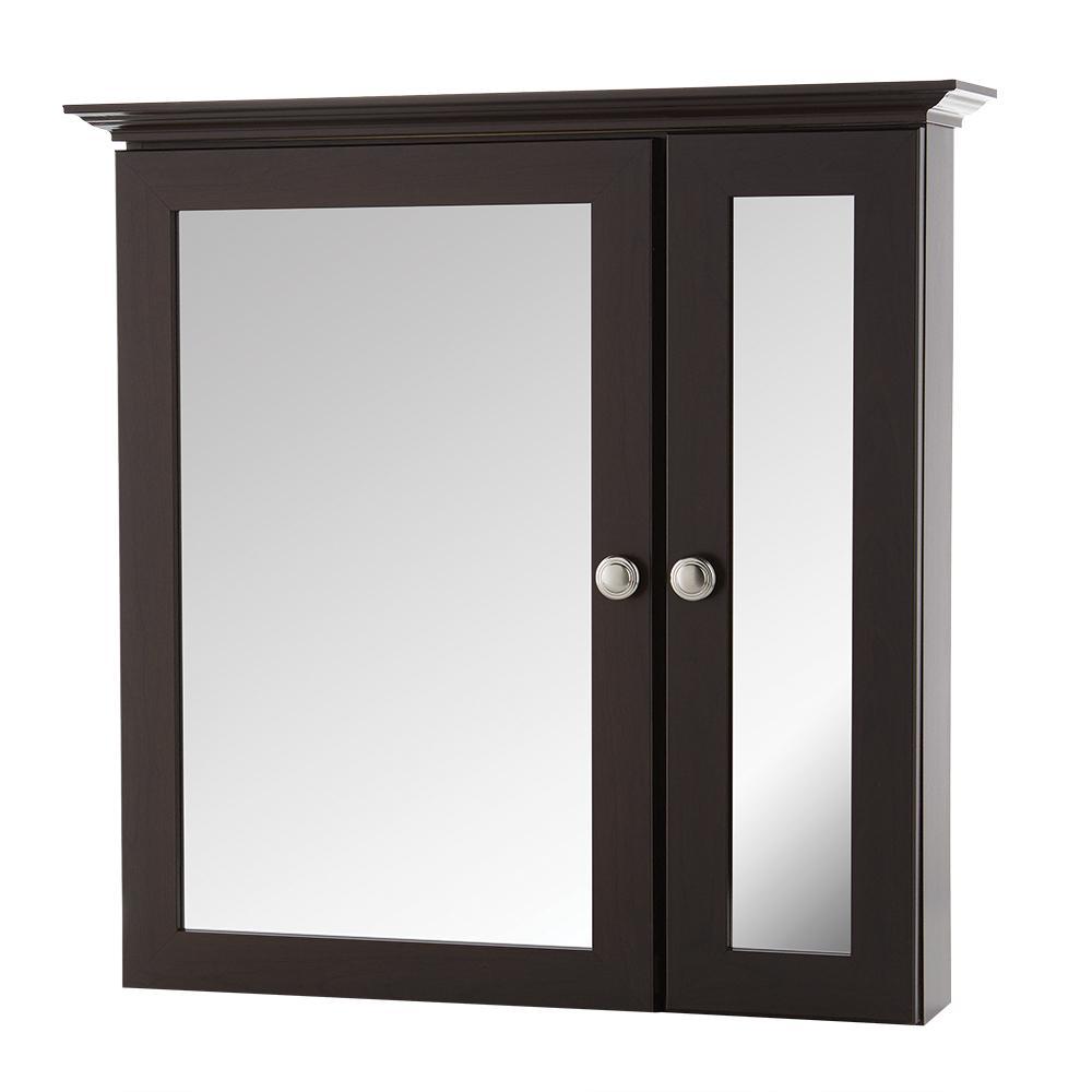 24-3/4 in. W x 24-5/8 in. H Fog Free Framed Surface-Mount Bi-View Bathroom Medicine Cabinet in Java