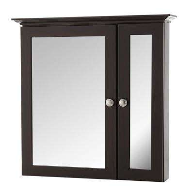 24-3/4 in. W x 24-5/8 in. H Fog Free Framed Surface-Mount Bi-View Bathroom Medicine Cabinet in Java