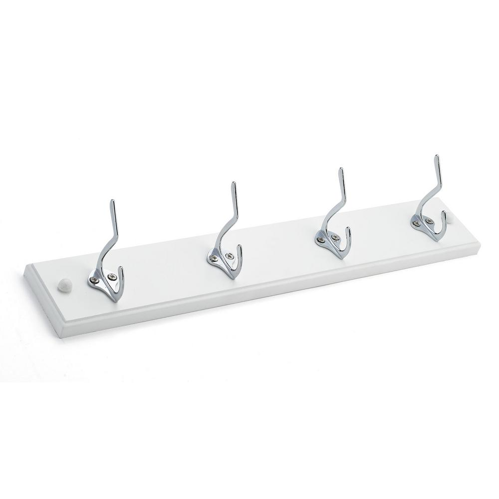 Richelieu Hardware 18 in. Nystrom Hook Rack White Board with 4 Chrome Hooks