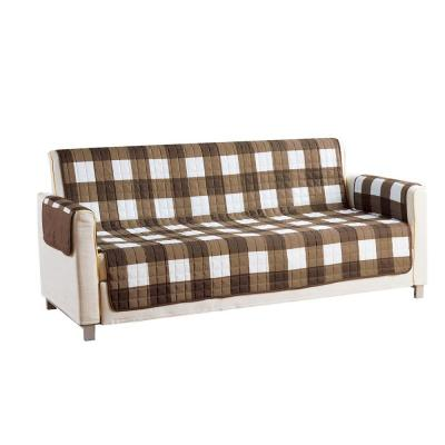 Alba Water Resistant Chocolate-Sage Fit Polyester Fit Sofa Slip Cover