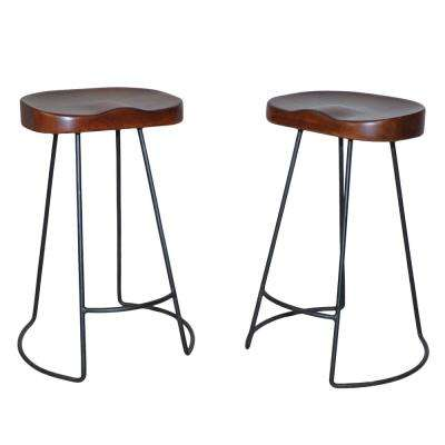 Saga 25 in. Chestnut Counter Stool (Set of 2)
