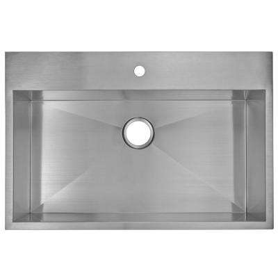Drop-In Zero Radius Stainless Steel 33 in. 1-Hole Single Bowl Kitchen Sink in Satin