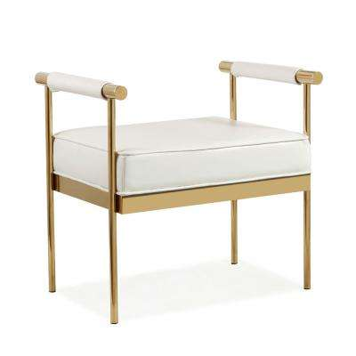Diva White Eco-Leather Bench