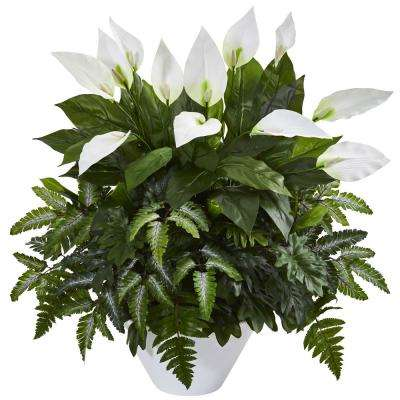 Indoor Mixed Spathiphyllum Artificial Plant in White Vase