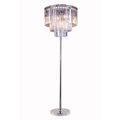 Sydney 63 in. Polished Nickel Floor Lamp with Clear Crystal