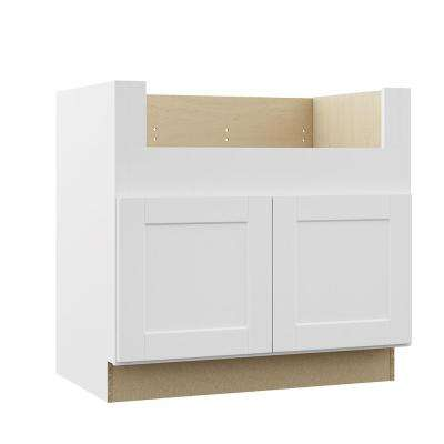 Shaker Assembled 36x34.5x24 in. Farmhouse Apron-Front Sink Base Kitchen Cabinet in Satin White