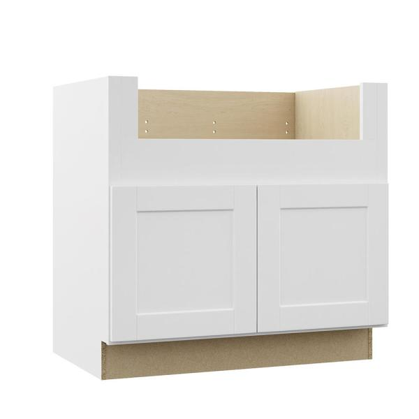 Hampton Bay Shaker Assembled 36x34 5x24 In Farmhouse Apron Front Sink Base Kitchen Cabinet In Satin White Ksbd36 Ssw The Home Depot