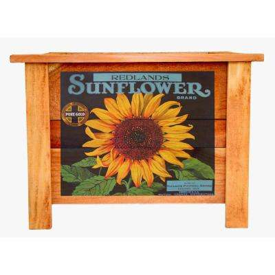 22 in. Redwood Planter Box with Sunflower Art