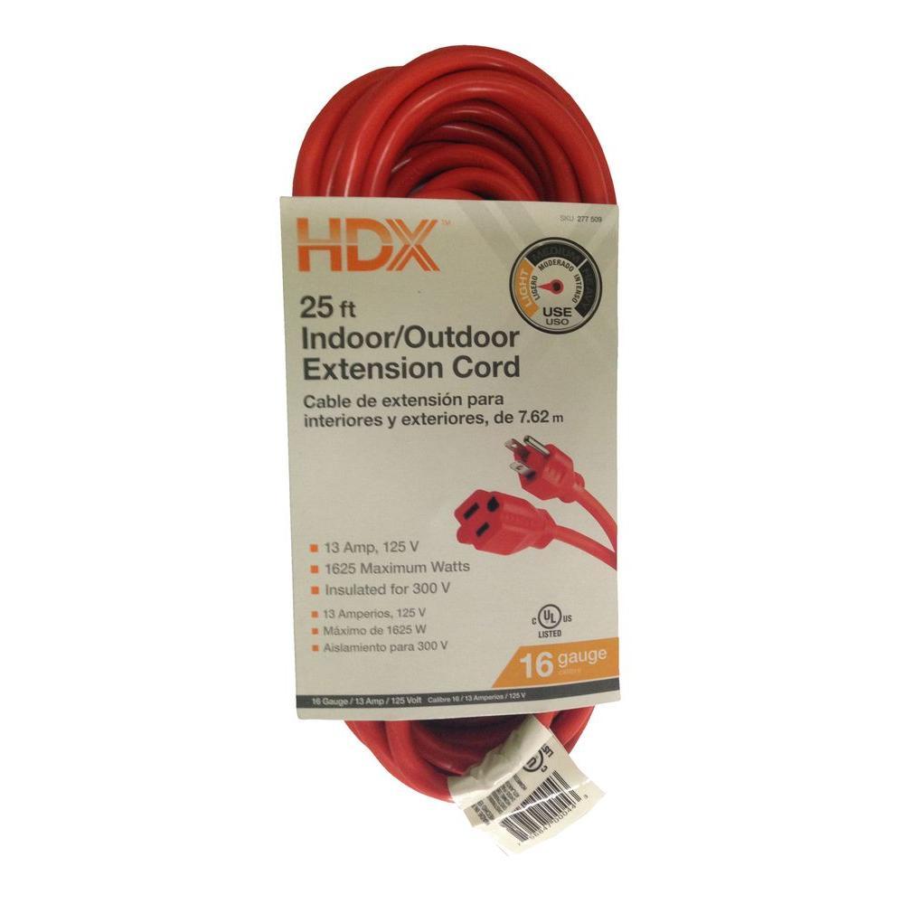 25 ft. 16/3 Light-Duty Indoor/Outdoor Extension Cord