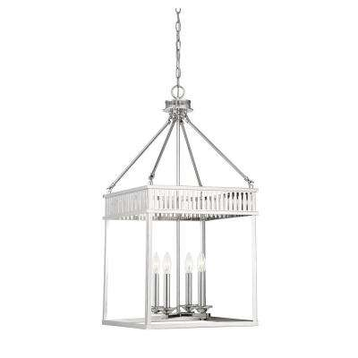 4-Light Polished Nickel Pendant with Clear Glass