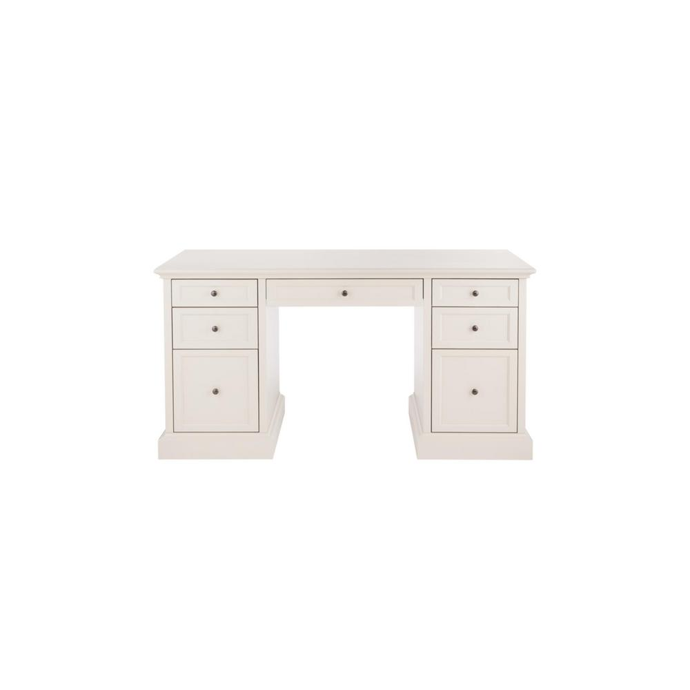 61 in. Rectangular Polar White 7 Drawer Executive Desk with Solid Wood Material