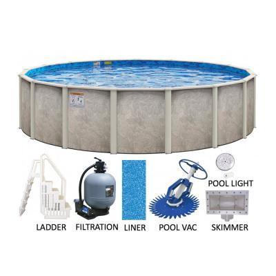 Sahara 21 ft. Round 54 in. Deep Hard Side Metal Wall Resin Frame Above Ground Swimming Pool Package w/Entry Step System