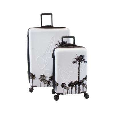 Redondo 2-Piece White and Palm Trees Hardside Luggage Set