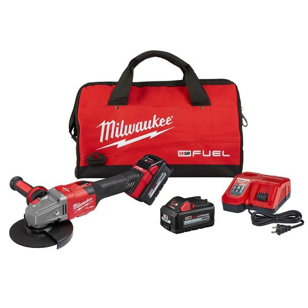 M18 FUEL 18-Volt Lithium-Ion Brushless Cordless 4-1/2 in./6 in. Grinder with Slide Switch Kit and Two 6.0 Ah Battery
