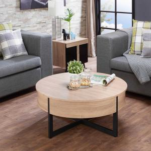 HomeRoots Amelia Natural And Black Particle Board Coffee Table