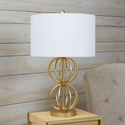Jolie Stacked Orb 27.25 in. Gold Table Lamp with Shade