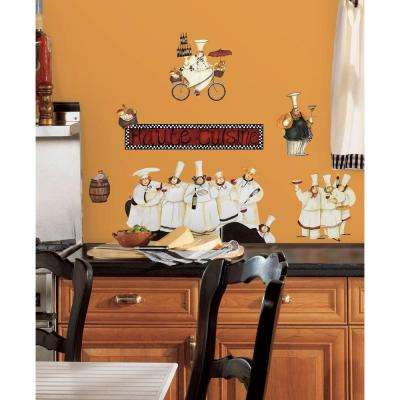 18 in. x 40 in. Chefs 17-Piece Peel and Stick Wall Decals