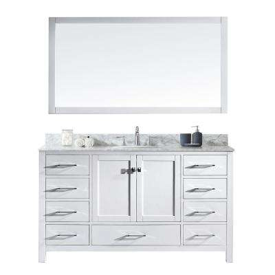 Caroline Avenue 60 in. W x 36 in. H Vanity with Marble Vanity Top in Carrara White with White Round Basin and Mirror
