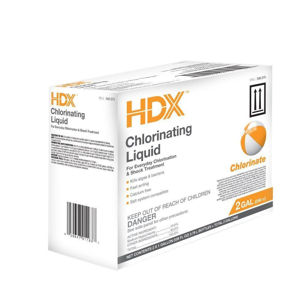 HDX 1 Gal. Pool-Care Chlorinating Liquid (2-Pack)