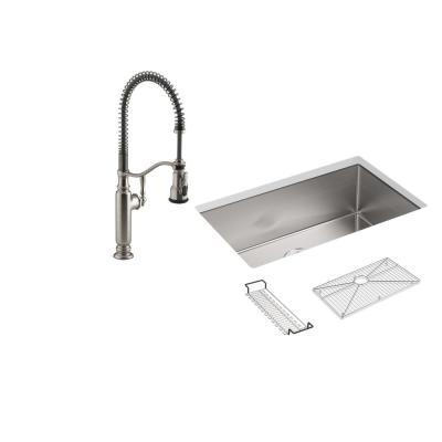 Strive All-in-One Undermount Stainless Steel 29 in. Single Bowl Kitchen Sink with Tournant Faucet in Stainless Steel