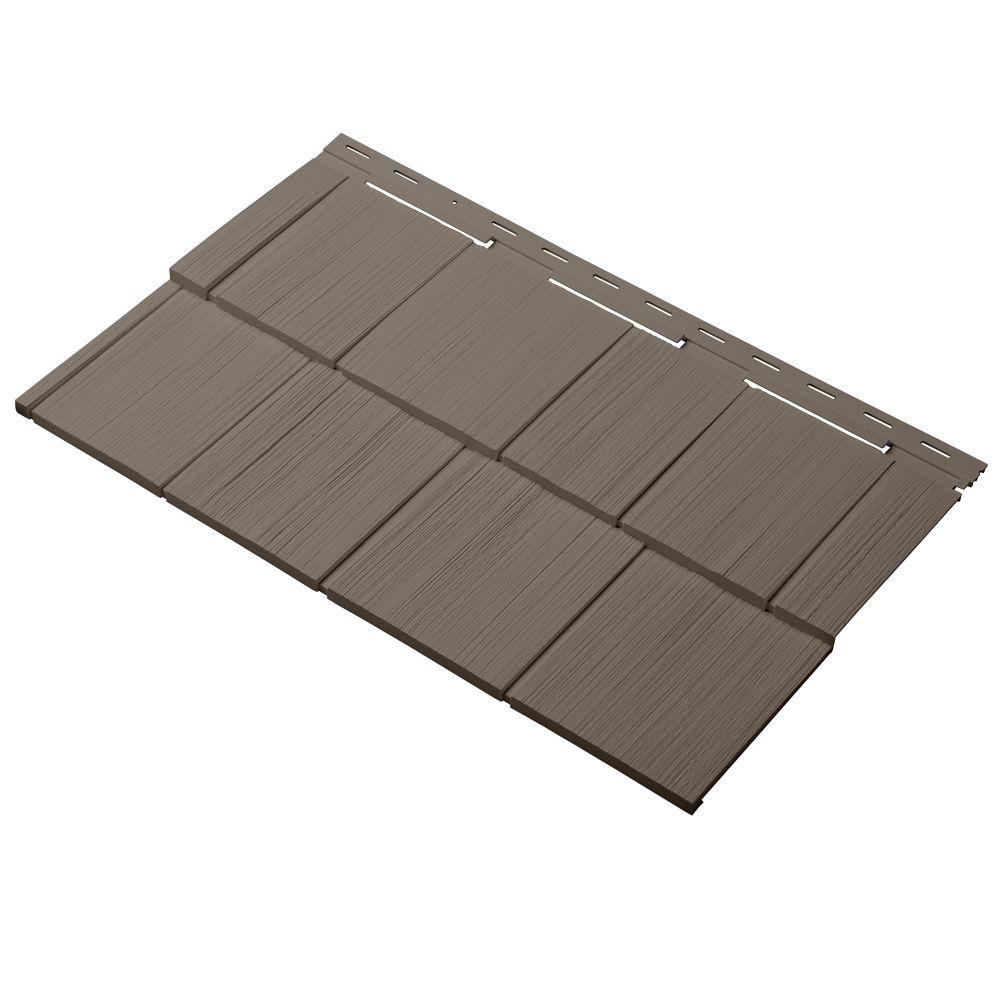 Cedar Dimensions Shingle 24 in. Polypropylene Siding Sample in Suede
