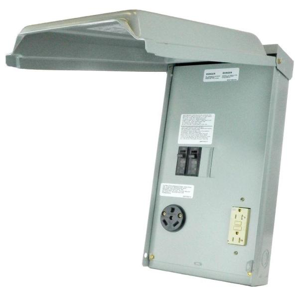 RV Panel with 30 Amp RV Receptacle and 20 Amp GFCI Receptacle